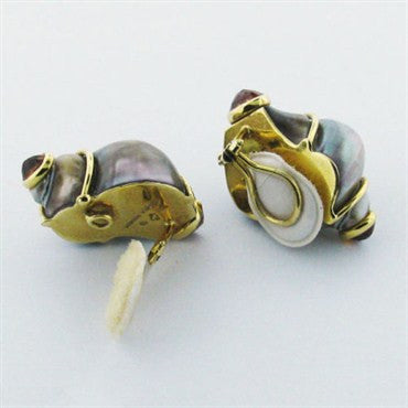 thumbnail image of Seaman Schepps 18k Gold Citrine Seashell Earrings