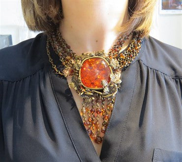 thumbnail image of Stephen Dweck Bronze Amber Multi Strand Necklace