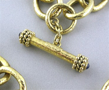 thumbnail image of Elizabeth Locke 18K Gold Hammered Link Sapphire Toggle Necklace
