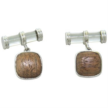 image of Trianon Crystal Wood Coral Gold Cufflinks