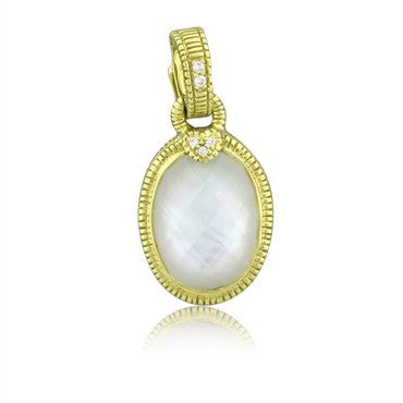 thumbnail image of Judith Ripka 18K Yellow Gold Mother Of Pearl Quartz Diamond Pendant