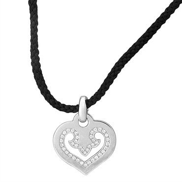 image of O. J. Perrin 18K Gold Diamond Cord Heart Pendant