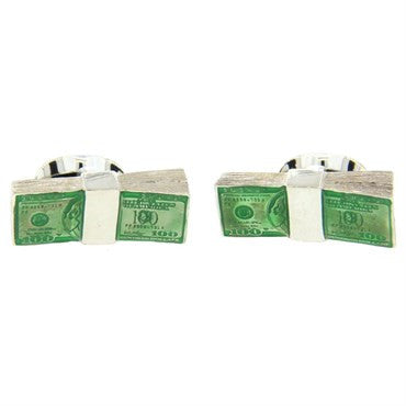 image of Deakin & Francis Enamel Sterling Silver Dollar Money Cufflinks