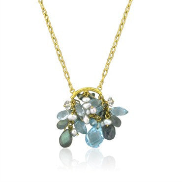 image of Gurhan Confetti 24K Gold Topaz Sapphire Keshi Pearl Pendant Necklace