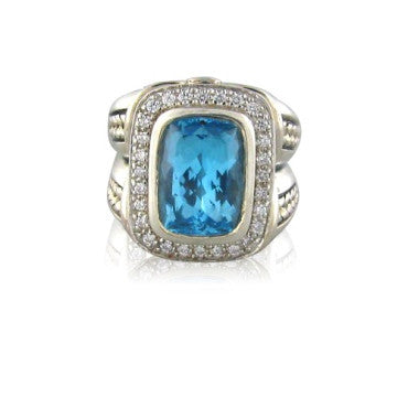 image of Scott Kay Sterling Blue Topaz Diamond Ring