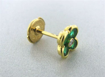 thumbnail image of New Gumuchian 18K Diamond & Emerald Petite Fleur Earrings