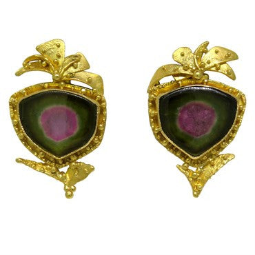 image of James Barker 18k and 22k Gold Gemstone Earrings