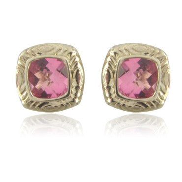 image of New Krypell Sterling 14k Gold Pink Topaz Earrings