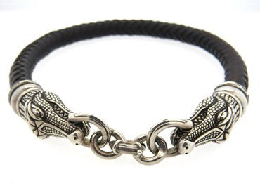 thumbnail image of Barry Kieselstein Cord Sterling Silver Leather Alligator Necklace Brac