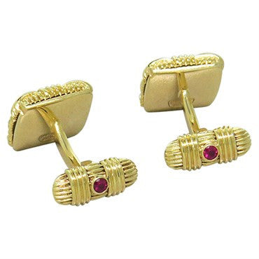 image of Roberto Coin Appassionata 18k Gold Diamond Ruby Cufflinks
