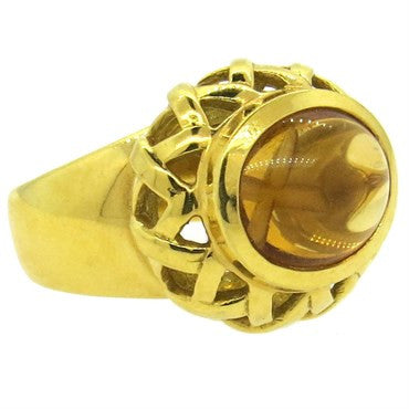image of Tiffany & Co. Paloma Picasso Citrine 18k Gold X Ring