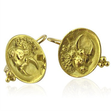 thumbnail image of New Temple St Claire 18k Gold Zodiac Taurus Earrings