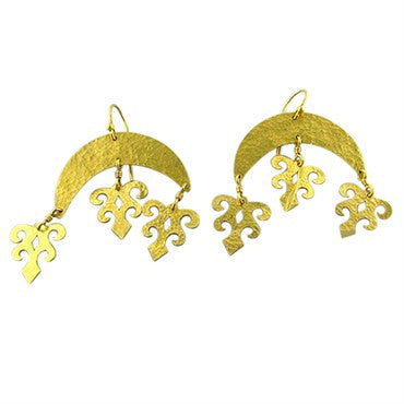 thumbnail image of New Gurhan Afghan Crescent 24k Gold Drop Earrings