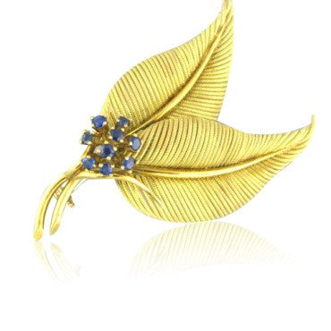 thumbnail image of Tiffany & Co Vintage 18k Gold Sapphire Leaf Brooch Pin