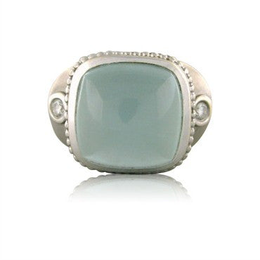 image of Seidengang Athena 18K White Gold Blue Gemstone Diamond Ring