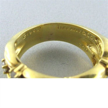 image of Estate Tiffany & Co Classic 18k Gold Diamond Band Ring