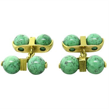 image of Continental European Green Gemstone 18k Gold Cufflinks