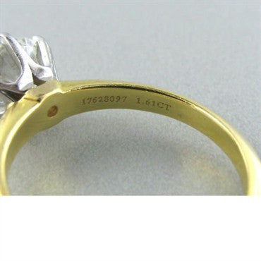 thumbnail image of Tiffany & Co 18k Gold 1.61ct Diamond Engagement Ring