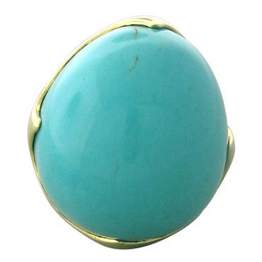 image of New Ippolita 18K Gold Turquoise King Large Ring