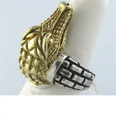 image of Kieselstein Cord Sterling 14k Gold Alligator Ring