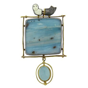 thumbnail image of Carolyn Morris Bach Silver Gold Gemstone Brooch Pendant