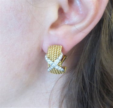 thumbnail image of Tiffany & Co Jean Schlumberger Gold Platinum Diamond Rope Earrings