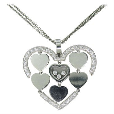 image of Chopard Happy Amore Gold Floating Diamond Heart Pendant Necklace