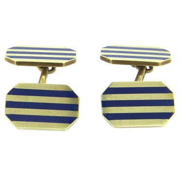image of Mid Century 14k Gold Blue Enamel Cufflinks