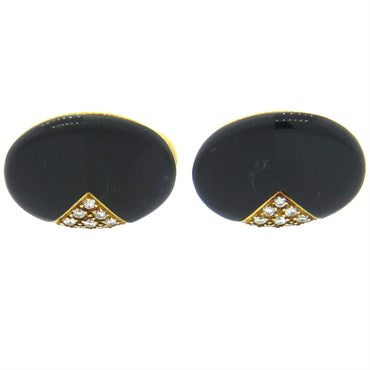 image of Onyx Diamond Hardstone 18k Gold Cufflinks