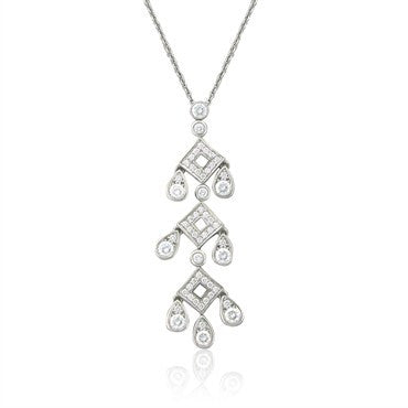 image of Tiffany & Co Legacy Pagoda Platinum Diamond Pendant Necklace