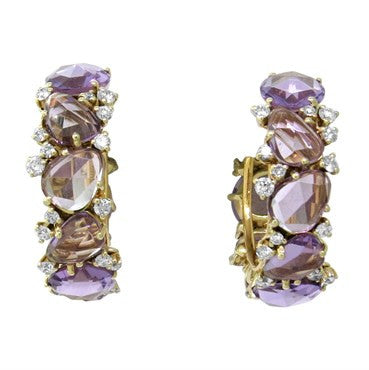 image of New Pomellato Lulu 18k Gold Diamond Amethyst Hoop Earrings