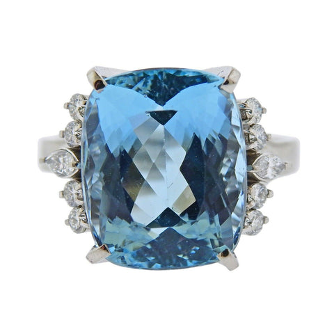 image of 12.78ct Aquamarine Diamond Platinum Ring