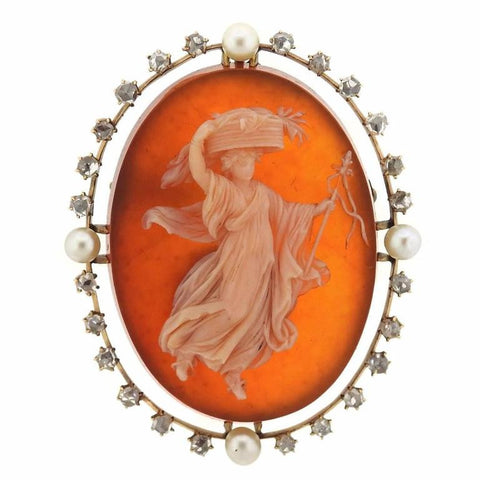 Antique Cameo Pearl Diamond Hardstone Gold Brooch Pendant