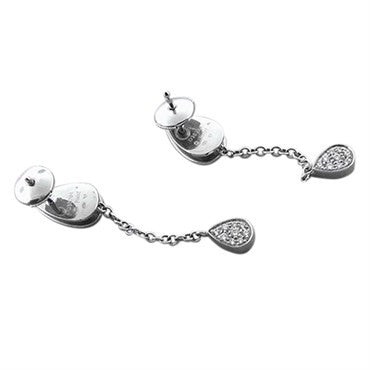 image of New Piaget 18K White Gold Diamond Drop Earrings