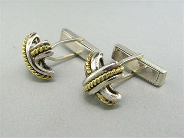 thumbnail image of Tiffany & Co Sterling Silver 18K Gold Cufflinks