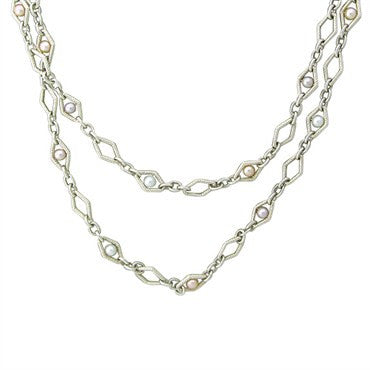 image of Charles Krypell Sterling Silver Pearl Long Necklace