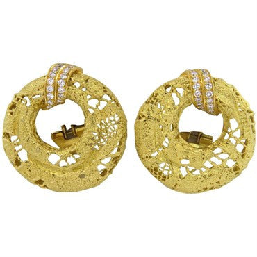 image of Chaumet Paris Lace 18k Gold Diamond Earrings
