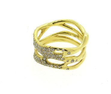 image of Ippolita Glamazon Diamond 18k Gold Band Ring