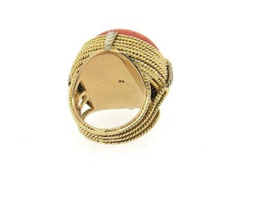 image of 1960s Large Red Coral 14k Gold Ring