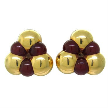 image of Vintage Marina B Sfera Carnelian Gold Earrings