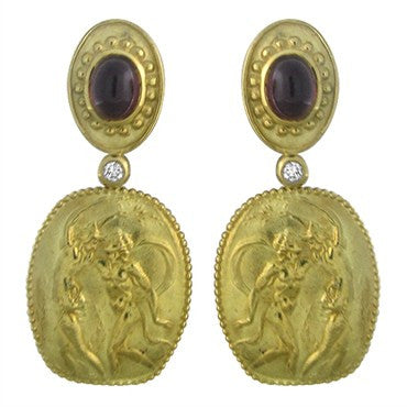 thumbnail image of Seidengang Athena 18k Yellow Gold Diamond Tourmaline Drop Earrings