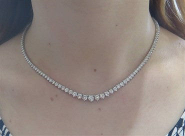 thumbnail image of Roberto Coin 10 Carat Diamond Gold Riviera Necklace