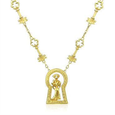 thumbnail image of Rare Salvidore Dali Ama De Llaves 18K Gold Diamond Pendant Necklace