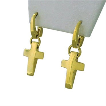 thumbnail image of New Pomellato 18k Gold Cross Drop Earrings