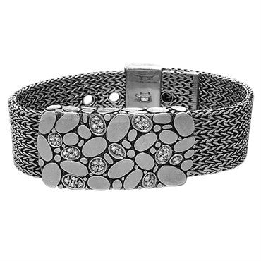 image of John Hardy Kali Sterling Silver Diamond Wide Buckle Bracelet