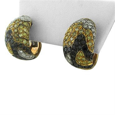 image of Roberto Coin 18K Gold Multi Color Diamond Camouflage Earrings