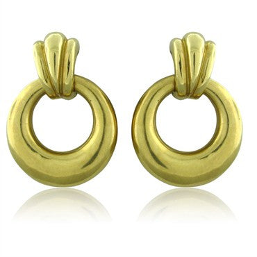 image of Estate Tiffany & Co 18K Yellow Gold Doorknocker Earrings