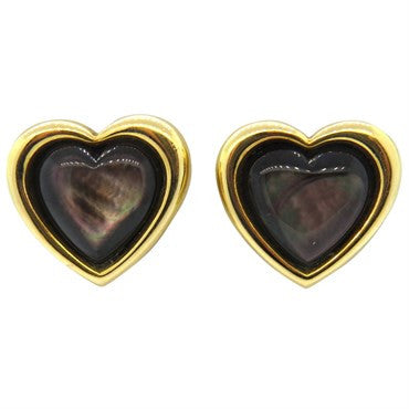 image of Mauboussin Black Mother of Pearl 18k Gold Heart Earrings