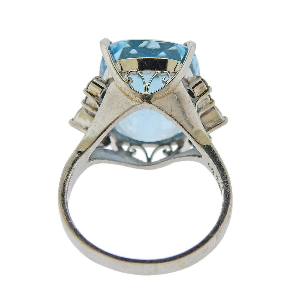 thumbnail image of 12.78ct Aquamarine Diamond Platinum Ring