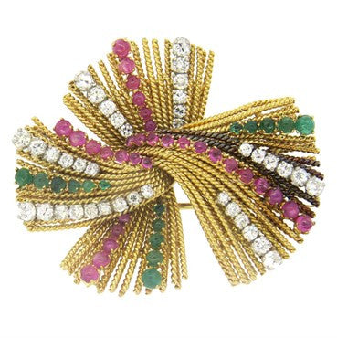 image of 1950s Gold Diamond Emerald Ruby Brooch Pin
